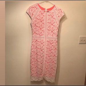 INC White/Peach Cap-Sleeve Lace Sheath Dress